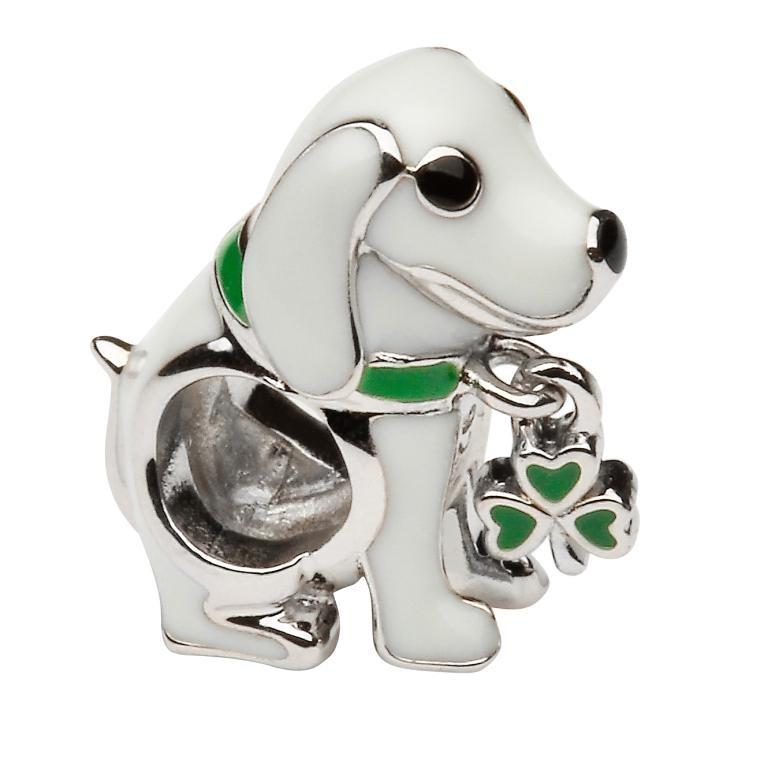 Silver Enamel Irish Shamrock Dog Charm Bead