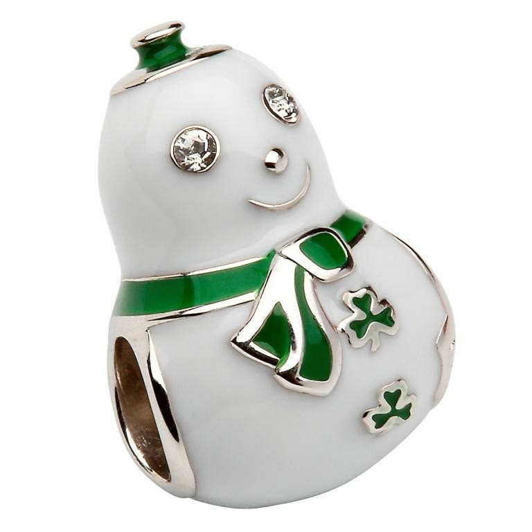 Snowman Shamrocks  Irish Charm Bead
