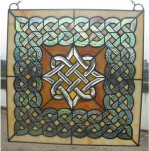 Stained Glass Irish Celtic Beveled WIndow Ornament