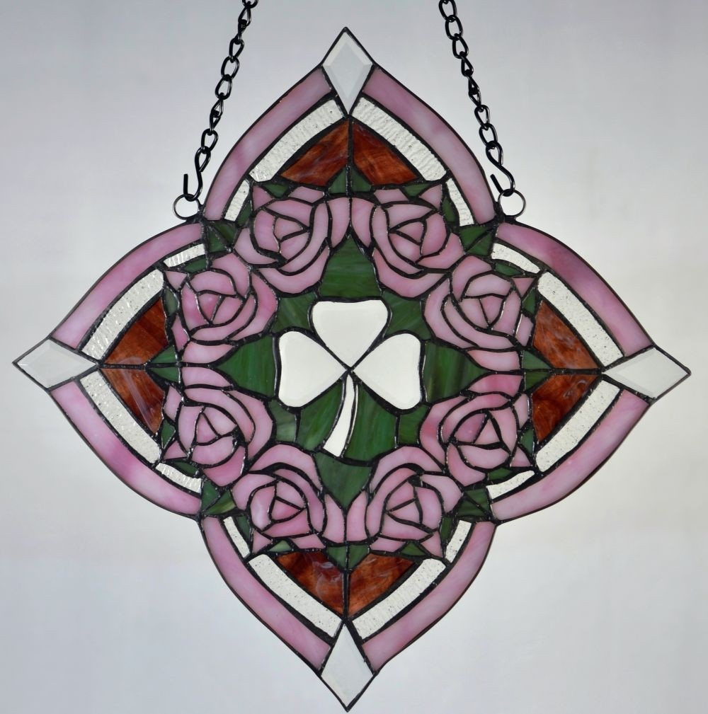 Stained Glass Irish Rose Window Ornament