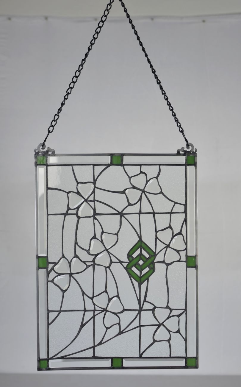 Stained Glass Irish Shamrock Vines Window Ornament