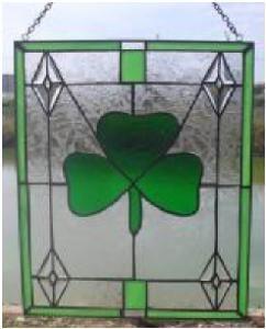 Stained Glass Irish Shamrock Window Ornament