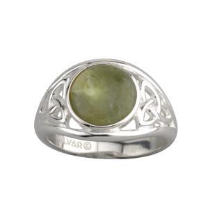 Sterling Silver Connemara Marble Irish Trinity Ring