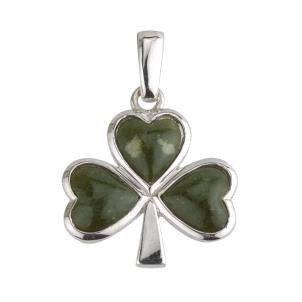Sterling Silver Connemara Marble Large Shamrock Charm