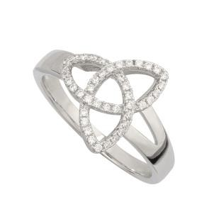Sterling Silver Cubic Zirconia Trinity Knot Irish Ring