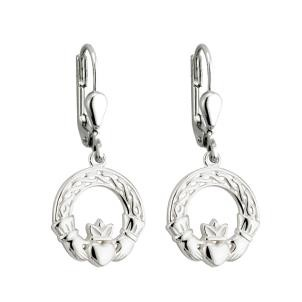 Sterling Silver Drop Irish Claddagh Earrings
