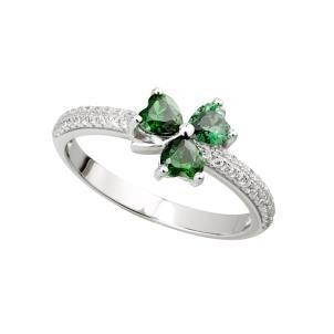 Sterling Silver Green CZ Irish Shamrock Ring