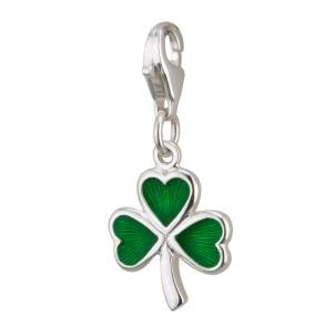 Sterling Silver Green Enamel Irish Shamrock Charm