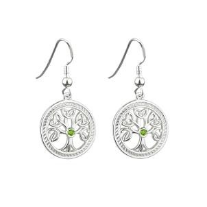 Sterling Silver Irish Tree of Life Earrings Drop