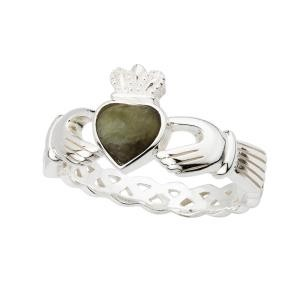 Sterling Silver Ladies Irish Marble Claddagh Ring