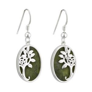 Sterling Silver Marble Irish Tree of Life Earrings