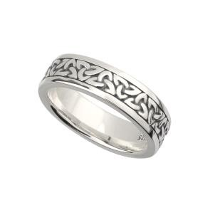 Sterling Silver Oxidized Trinity Knot Ladies Wedding Band