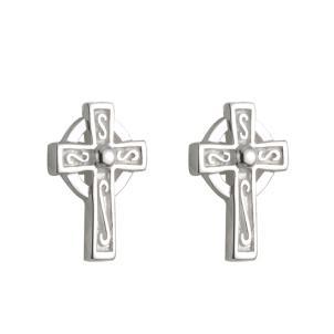 Sterling Silver Tiny Irish Celtic Cross Earrings