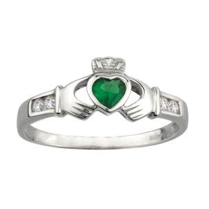 Sterling Silver with Synthetic Emerald Irish Claddagh Ring