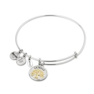 Tree of Life Two Tone Sterling Silver Bangle Bracelet