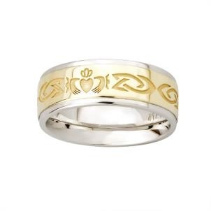 Two Tone Etched Celtic Claddagh Mens Irish Wedding Band