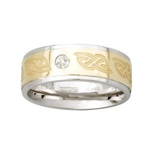 Two Tone Etched Celtic Mens Irish Wedding Band with Diamond