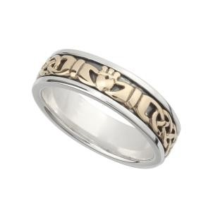 Two Tone Irish Claddagh Ladies Wedding Band