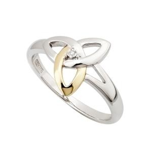 Two Tone Ladies Trinity Knot Irish Ring