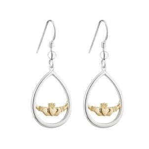 Two Tone Oval Irish Claddagh Drop Earrings Sterling Silver