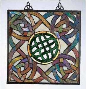 Stained Glass Irish Multi Color Celtic Knot Window Decor