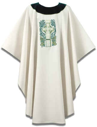 Cream/Green Celtic Cross Irish Chasuble