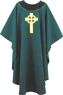 Hunter Green Gold Celtic Cross  Irish Chasuble