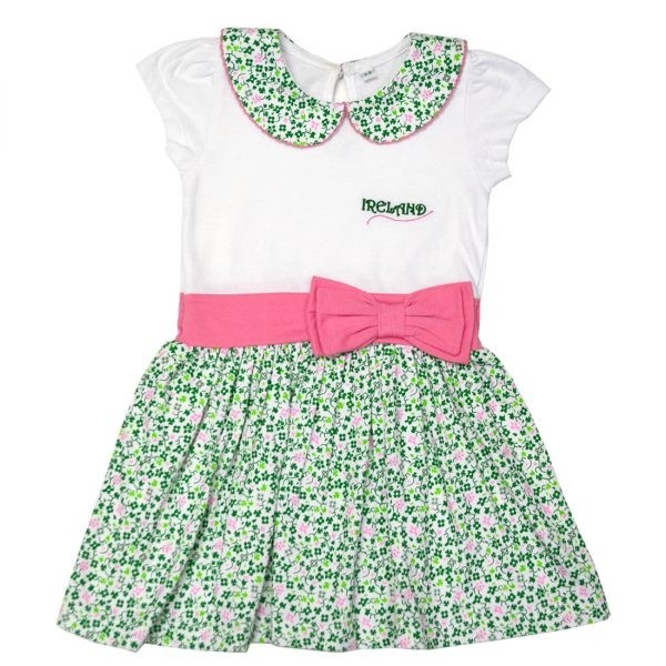 White Shamrock Pink Bow Kids Irish Dress
