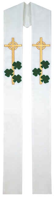 Irish Shamrocks Celtic Cross Overlay Stole