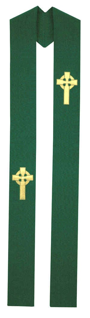 Hunter Green Gold Celtic Cross Irish Overlay Stole