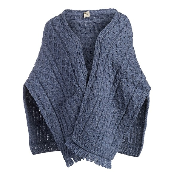 Ladies Denim Blue Irish Knit Wrap With Pockets