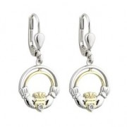 10k Gold Sterling Silver Claddagh Diamond Earrings