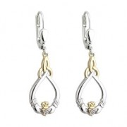 10k Gold Sterling Silver  Diamond Claddagh Drop Earrings