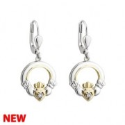 10k Gold Sterling Silver Round Claddagh Diamond Earrings