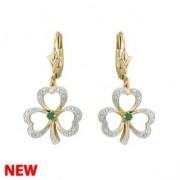 14k Gold Diamond  Emerald Irish Shamrock Drop Earrings