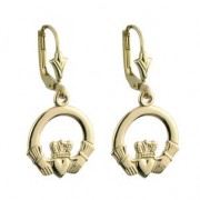 14k Gold Large Claddagh Drop Earrings
