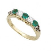 14k Yellow Gold Diamonds and Emeralds Claddagh Eternity Ring