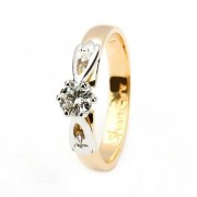 Claddagh solitaire diamond 14k yellow and white gold ring round cut engagement ring
