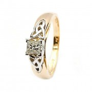 Celtic solitaire diamond ring 14k yellow and white gold princess cut