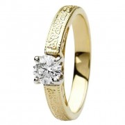 Celtic engagement ring 14k yellow and white gold