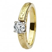 Claddagh celtic solitaire diamond 14k yellow and white gold ring round cut engagement ring