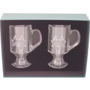 Irish Coffee Glasses Pair Etched Irish Claddagh
