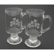 Irish Coffee Glasses Pair Etched Shamrocks
