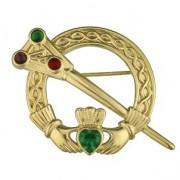 celtic claddagh tara brooch with stones