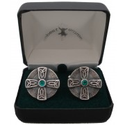 Celtic Cross Cuff Links Green Stone