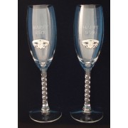 Irish Champagne Flute Glasses 25th Anniversary Silver Pewter Claddagh Emblem