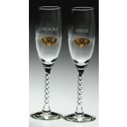 Irish Champagne Flute Glasses Bride and Groom Gold Pewter Claddagh Emblem