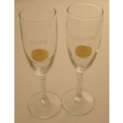 Irish Champagne Flute Glasses Happy Anniversary Gold Pewter Trinity Knot