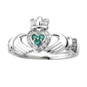 Irish Claddagh Ring 14k White Gold with Diamonds and Emeralds