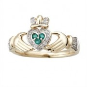 Irish Claddagh Ring 14k Yellow Gold with Diamonds and Emeralds